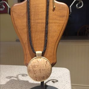 Chico's cork with gold accents necklace